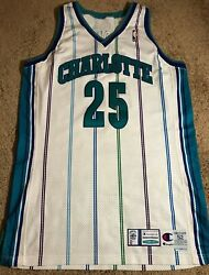Chucky Brown Game Worn Charlotte Hornets Champion Authentic Pro-cut Jersey 52 +4