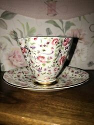 Clarence Bone China Pink Chintz Cup And Saucer