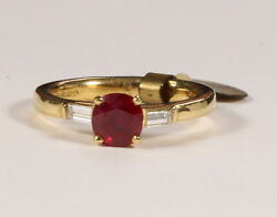 18ct Yellow Gold Ring Made By Argenta London An Set With Burma Ruby Fingersize O
