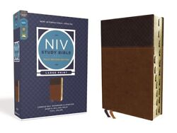 Niv Study Bible, Fully Revised Edition, Large Print, Leathersoft, Brown, Re...