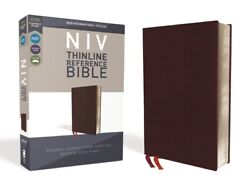 Niv, Thinline Reference Bible, Bonded Leather, Burgundy, Red Letter Edition...