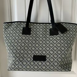 dooney amp; bourke handbags large tote Canvas Fabric And Leather Trim And Strap $100.00