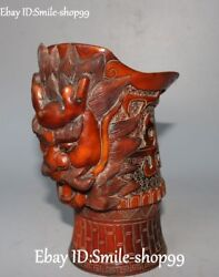 Collect Rare Natural Ox Horn Palace Dragon Loong Head Winecup Wineglass Wine Cup