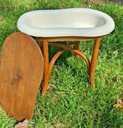 Vintage French Bidet - Baby Bath Planter Etc. - With Bentwood Stand And Cover