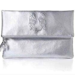 NWT Victoria#x27;s Secret Angel Collection Silver Small Tote Clutch Bag New $29.99