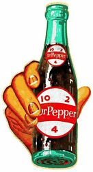 3 Hand Holds Dr Pepper 10 2 4 Bottle 22 Heavy Duty Usa Made Metal Adv Sign