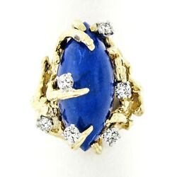 18k Gold Marquise Blue Lapis Lazuli And Diamond Tree Branch Textured Cocktail Ring