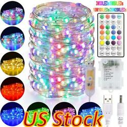 Us Led Fairy String Light 12 Modes Usb Remote Control For Home Party Xmas Decor