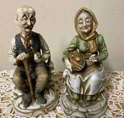 "Beautiful Vintage Figurine Of Old Man And Woman 6.5"" Tall"