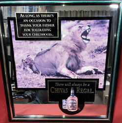 Chivas Regal Ad Sign Blended Scotch Whisky Bar Sign Mirror Lion 18x18