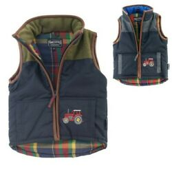 Kidsand039 Tweed Patch Body Warmer With Tan Trim Tractor Embroidery Boys Childsand039