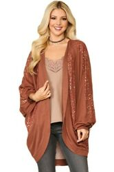 Gigio Floral And Gold Foil Mixed Knit Cocoon Kimono