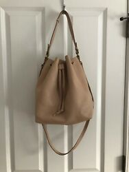 Mark and Graham Daily Leather Bucket Bag Shoulder Strap BLUSH Neutral $59.99