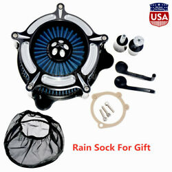 Blue Element Air Cleaner W/ Rain Sock Fit For Touring 00-07 Dyna 00-17 Softail