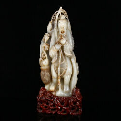 10.8 Chinese Antique 100 Natural Hetian Jade Handcarved Elderly Fish Statues