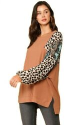 GIGIO ANIMAL AND PAISLEY MIXED PRINTROUND NECK TUNIC TOP WITH SIDE SLITS