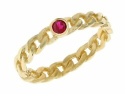 10k Or 14k Yellow Gold Chain Link July Simulated Ruby Birth Ring