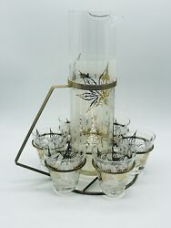 Fred Press Gold Cocktail Caddy Set Pitcher Glasses Etched Maple Leaves Rare Htf