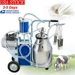 25l Electric Milking Machine For Farm Cows Cattle W/bucket 12cows/h Milker New