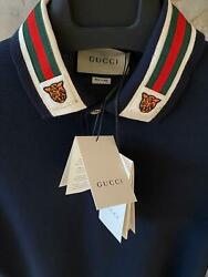 Gucci Men#x27;s Dark Blue Polo with Web and Feline Head Size M $119.00