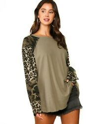 GIGIO ANIMAL AND CAMOUFLAGE KNIT MIXED TOP WITH LONG DOLMAN SLEEVES