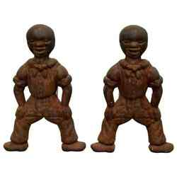 Antique Brutalist Pair Of Iron African Art Male Figurine Fireplace Log Andirons