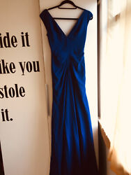 Lela Rose Blue Gown With Train Gathering Detail Uk Size 10 Perfect Condition