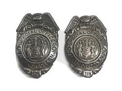 Rare 2 Ventnor Nj Sterling Silver Special Officer New Jersey Pins C.1920's