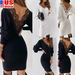 WOMEN#x27;S LONG SLEEVE BACKLESS BODYCON LACE MINI DRESS PARTY EVENING BALL GOWN US $14.21