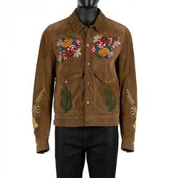 Dolce And Gabbana Roses Pistols Cactus Suede Leather Jacket Brown 48 Us38 M 08891