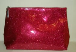 Lancome Large Shimmering Red Cosmetic Bag Train Case New $9.99