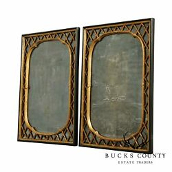 Vintage Pair Regency Style Distressed Black And Gold Faux Bamboo Mirrors