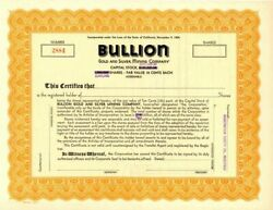 Bullion Gold And Silver Mining Company - Stock Certificate