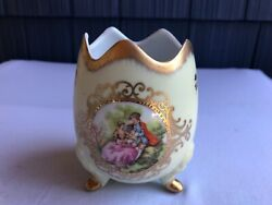 Gorgeous Egg Shaped Footed Lefton China Colonial Couple Enamel Gold 11 Ptr