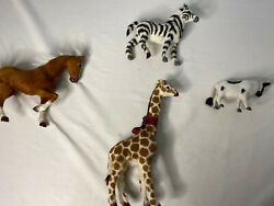 Lot Of 4 Fisher-price Toys Hair Covered Zoo Animals Giraffe, Zebra, Horse And Cow