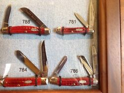 Case Display Cabinet with 8 Red Bone Pocket Worn handle Knives Extremely Rare