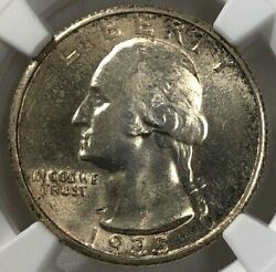 1935 S Ngc Ms64 Washington Silver Quarter 25c Exceptional Toned And Lustrous