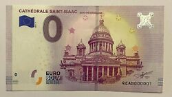 Zero Euro 0 Euro Cathedral Saint Isaac First Number 001 2019 Unc