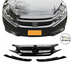 Gloss Black Front Grille Grill Eyelid For 2016 2017 2018 Honda Civic Coupe Sedan