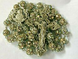 Vintage Sterling Silver Ab Rhinestone Crystal Encrusted Bead Rosary Necklace