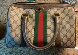Vintage Gucci Hand Bag Light Brown 98 02 006 with red dust cover $295.00