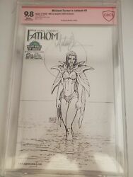 Fathom 0 Cbcs 9.8 Signed By Michael Turner Wwla 2005 Exclusive Sketch Cover
