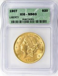 United States - 1907 Liberty Gold Double Eagle Icg Ms-63