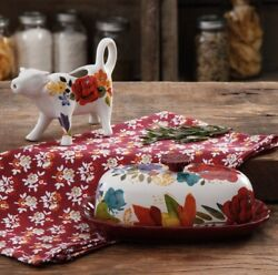 New Pioneer Woman Timeless Floral Cow Creamer And Butter Dish