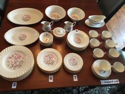 Spring Blossom Syracuse Fine China With Serving Platters, Bowls And Gravy Boat