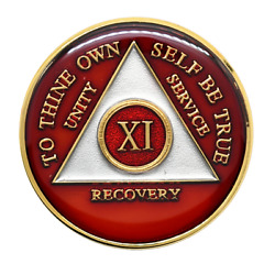 11 Year Aa Coin Red Triplate Alcoholics Anonymous Recovery Medallion Chip Token