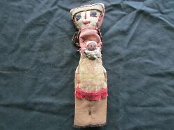 Vintage Peruvian Doll, Hand Made 11 Old Cloth Doll From Peru, Ott-102005011
