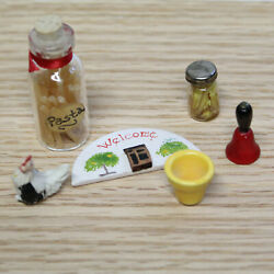 Lot of Farmhouse Miniatures Chicken Welcome Sign Food Jars Bell amp; Planter