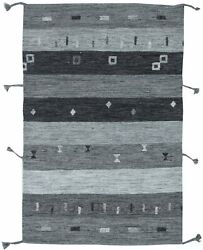 Contemporary Light And Dark Gray Flat-weave Wool Rug N11514