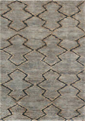 Contemporary Blue And Brown Hemp Rug N12040